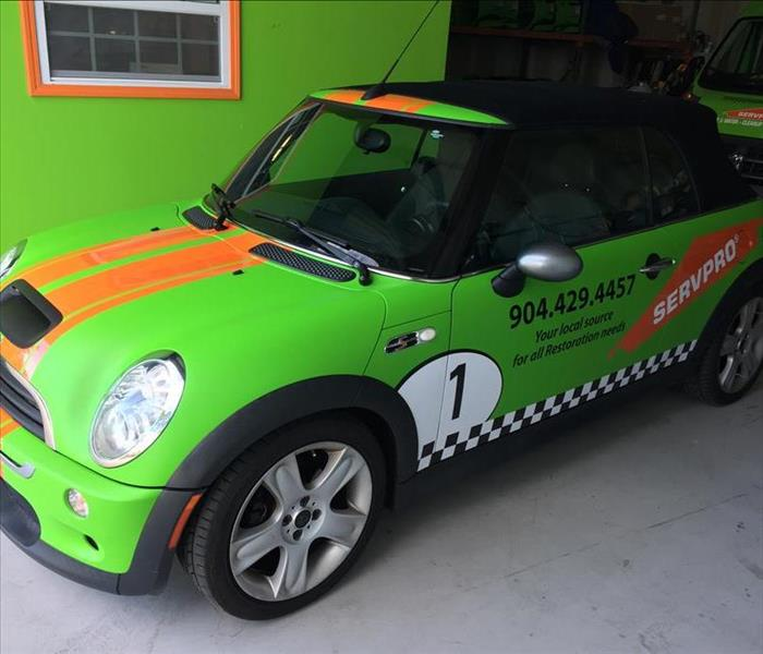 Mini Cooper looks better in SERVPRO green