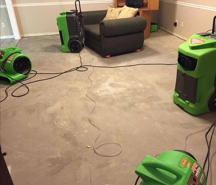 Equipment setup in a water damaged home in St Augustine