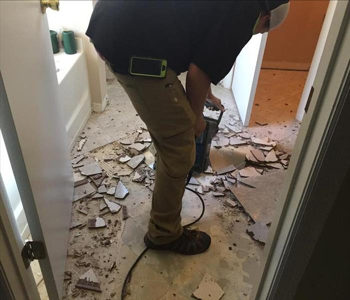 Water Damage Water Damaged tile removal by SERVPRO in St. Augustine.